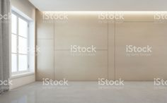 Empty room with white concrete floor and wooden wall background in modern house royalty-free stock photo