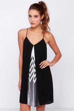 Cute Black Dress - Slip Dress - Chevron Print Dress - $86.00