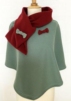 cape femme col croisé noeud laine cachemire liberty mode framboise lie de vin carreaux hiver couture création
