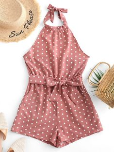 Cute Belted Open Back Knotted Polka Dot Romper - Khaki Rose Occasion: Daily,Going Out,Vacation Style: Fashion Fit Type: Regular Length: Mini Collar-line: Halter Sleeves Length: Sleeveless Material: Cotton,Spandex Pattern Type: Polka Dot Girls Fashion Clothes, Teen Fashion Outfits, Mode Outfits, Look Fashion, Outfits For Teens, Girl Outfits, Hijab Fashion, Fashion Tips, Cute Summer Outfits
