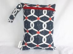 "Wet bag in nautical naughts print! Perfect travel size 9""x12"". Perfect bag with multiple uses by Poshteriors on Etsy"