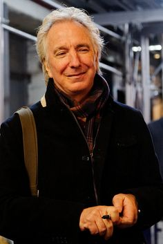 Alan Rickman signing autographs at the stage door of the John Golden Theater, after the performance of Seminar on Friday 11 November 2011.