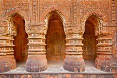 "The Terracotta artworks on the pillars and facade of Shyamrai Temple or Panchchura Temple, Bishnupur,, West Bengal, India.  Boshnupur is known as the "" Temple city "" of Bengal for its ancient architectural marvels.  For the history and detaols feature of Shyamrai temple and Radhashyam temple, click http://sumitphoto.blogspot.in/2015/12/the-temples-and-architechtural-marvels.html"