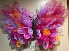 This Beautiful butterfly wreath large mesh wreath pink wreath is just one of the custom, handmade pieces you'll find in our wreaths shops. Deco Mesh Crafts, Wreath Crafts, Burlap Wreaths, Yarn Wreaths, Ribbon Wreaths, Mesh Wreath Tutorial, Purple Wreath, Sunflower Wreaths, Floral Wreaths