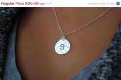 ON SALE Custom Volleyball Necklace with any number mirrored acrylic by Chicago Factory- (S100)