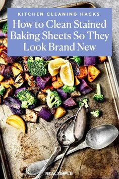 How to Clean Gross Baking Sheets So They Look Brand New | We share exactly how to clean baking sheets so they look shiny and new. You won't ever roast or bake your meals on a stained baking sheet again with our baking sheet cleaning method. #cleaningtips #cleanhouse #realsimple #stepbystepcleaning #cleaninghacks #cleaningguide