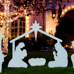 Large Silhouette White Outdoor Nativity Set Holy Family Scene by Outdoor Nativity Store