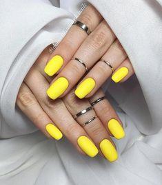 23 Great Yellow Nail Art Designs 2019 - Nails - Best Nail World Yellow Nails Design, Yellow Nail Art, Perfect Nails, Gorgeous Nails, Short Nail Designs, Nail Art Designs, Gel Nails At Home, Dipped Nails, Powder Nails