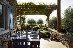 Marc Newson. Il tavolo da pranzo sotto il pergolato di vite: in 'azzurro Grecia' sedie, persiane, americane. 'Un caso', dice Charlotte.