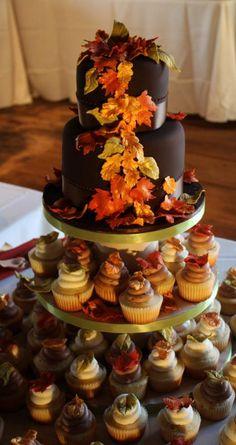 Autumn Wedding Cake -- The best one I have pinned so far. I like the cupcake idea.