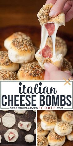 Italian Cheese Bombs take only minutes to prepare using premade biscuit dough wrapped around melty Italian cheese and salami and are everyone's favorite. #cheesebombs #italian #italiancheesebombs #cheese #bombs #biscuits #recipe #easy #video #pullapart #stringcheese