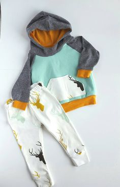 Baby boy hoodie and leggings set. Modern. Elk deer by BabyNell