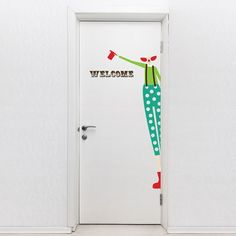 Door Decal Clown. This door sign vinyl sticker features a welcome message and a clown that invites your guests to enjoy the circus and will add a fun and decorative style to your door, $69.95 http://www.coolwallart.com/kids-wall-decal-door-clown.html