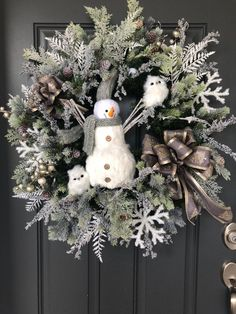 shop: Rustic Snowman and Owls Christmas wreath/Large Christmas wreath/Neutral Holiday wreath/Christmas Door Decor Excited to share this item from my Outdoor Christmas Tree Decorations, Large Christmas Wreath, Christmas Owls, Silver Christmas, Diy Christmas Ornaments, Holiday Wreaths, Winter Wreaths, Christmas Images, Christmas Projects