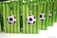 Absolutely amazing is all I can say about this soccer birthday party done by Sarah of the cute Etsy Shop Crackers art  to celebrate her son ...