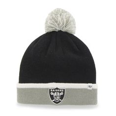 Oakland Raiders 47 Brand Black Gray Baraka Knit Cuffed Poofball Beanie Hat Cap