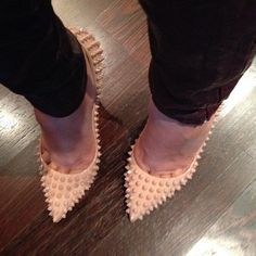 033534ad974e I want these nude louboutin pigalle spiked pumps. Stiletto Shoes