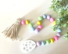 Wooden Bead Garland, Spring Easter Rustic Home Decor Tassel Garland Wood Garland Country Decor Shelf Decor Home Housewarming Gift Wood Bead Garland, Beaded Garland, Easter Garland, Budget, Tray Decor, Easter Crafts, Easter Decor, Holiday Crafts, Trends