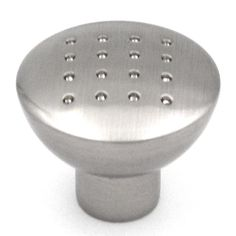"P2911-SN Satin Nickel 1 1/4"" Round Dotted Cabinet Knob from Hickory Hardware's Metropolis collection Hickory Hardware's Metropolis collection Satin Nickel Finish Dotted Cabinet or Drawer knob Materials: Zinc Diameter: 1 1/4""; Projection: 1""; Base Diameter: 1/2"""