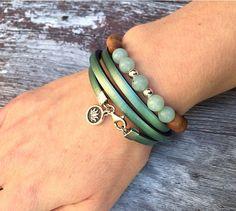 Sterling lotus flower mint leather bracelet  sterling silver