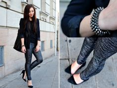 Motel Rocks Pewter Coloured Pants, I Clothing Studded Bracelet, Filippa K T Shirt, Buffalo Asymmetric Heels