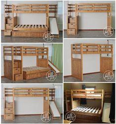 Twin plus complet sur twin solide bois superposés lit gigogne | Etsy