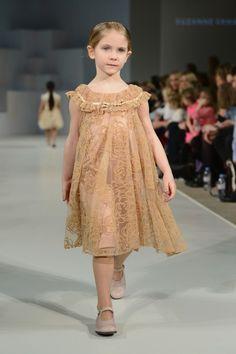 Suzanne Ermann Champagne Flocked Flower Dress