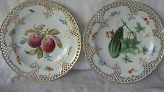Pair 2 VINTAGE MEISSEN RETICULATED PLATES WITH HAND PAINTED FRUIT Flowers