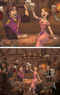 Cause we find ourselves in the same old mess singing drunken lullabies - Disney World - Disney Pixar, Disney Rapunzel, Animation Disney, Film Disney, Disney Couples, Disney Marvel, Disney Fan Art, Disney And Dreamworks, Disney Love
