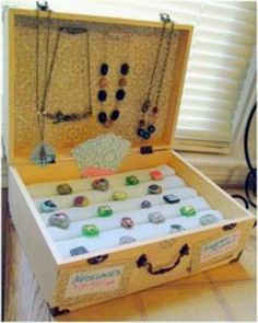 Suitcase jewelry display
