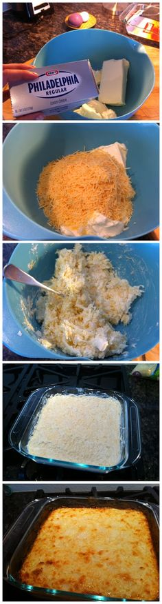 White Queso Dip - does not include Velveeta cheese! 2 blocks of cream cheese cup of chopped onions (can be frozen) cup of mayo 1 ounce) package of shredded monterrey jack cheese - about 2 cups 1 ounce )package of shredded parmesan cheese - about 2 cups Yummy Appetizers, Appetizer Recipes, Cheese Dip Recipes, Think Food, I Love Food, White Queso Dip Recipe, Gula, Fingers Food, Football Food