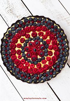 Szybka tarta z owocami lata - bez pieczenia / No Bake Fruit and Chocolate Tart