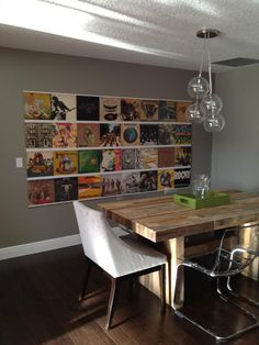 Record sleeves on the walls in the dining room