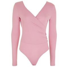 Topshop Long Sleeve Wrap Ribbed Body (368.745 IDR) ❤ liked on Polyvore featuring tops, pink long sleeve top, wrap style top, v neck wrap top, wrap top and rib top