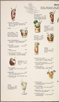 Trader Vic's: Menus: Whats on the menu? Drink Menu Design, Cafe Menu Design, Menu Card Design, Food Design, Menue Design, Menu Illustration, Tiki Tattoo, Menu Layout, Cocktail List