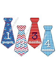 Baby Boy Nautical Tie Onesie Stickers in Red and Blue...Favorite Baby Shower Gift for New Mom or Photo Prop on Etsy, $9.00