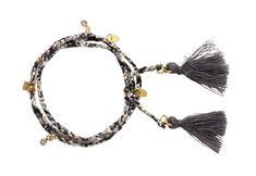 58c62270906 Armbånd med silkesnor og kvaste: Til dette armbånd er der brugt følgende  materialer: silkebånd