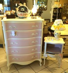 Vintage (1952) French Provincial chest of drawers and nightstand refinished with Annie Sloan Chalk Paint Antoinette and Old White