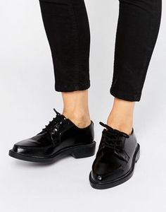 T.U.K. Jam Point Lace Up Leather Flat Shoes