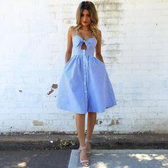 7d171cf771 2016  180 How cute is  nataliadelele in the Oxford Stripe Dress Day  Dresses