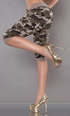 Army capri kalhoty Stiletto Heels, Capri, Army, Shoes, Fashion, Gi Joe, Moda, Zapatos, Military
