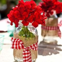 Burlap and red gingham  (Super patriotic if you could paint the burlap navy blue)