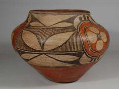 #adobegallery - Historic Zia Pueblo Polychrome Jar with Rosettes