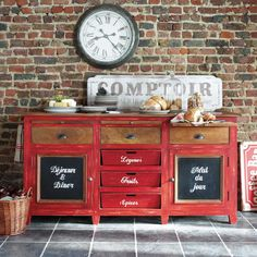 this look is relevant at the moment - colorful, big reds that look used, whitewashed, weathered, with found objects like the sign and the clock