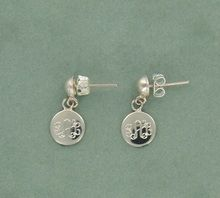 These Silver Monogram Earrings feature a Post and Dangle and are engraved with your monogram.