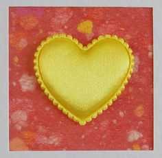 I Love You Card, blank, birthday, wedding, engagement, anniversary, yellow heart on red, contemporary, modern, with envelope, no message by CardArtSmart on Etsy
