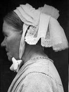A WWII photo of a woman in Drents regional dress.
