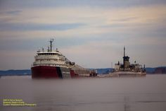 The John Munson making its way through the thick fog in Sault Ste. Marie, MI.