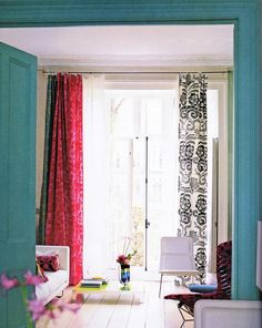 Why not hang curtains of different colors and patterns on a window? Yeah, why not? Idea from the book Pattern by Tricia Guild