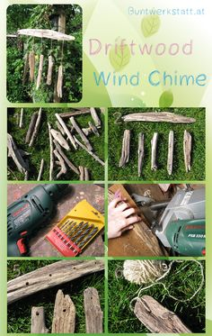 tutorial how to make this driftwood wind chime craft. this blog has so many beautiful crafts!